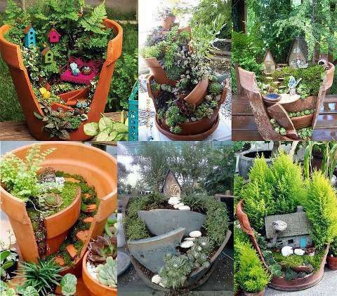 Creative way to recycle broken pots world report our - Astuce deco jardin recup ...